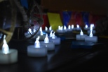 Candles glow in the Inspiration Room, a place where students can go to learn about Riley families.