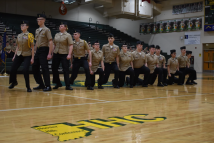 ROTC's drill team marches during their inspection.