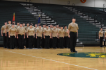 Senior Colton Nash stands in front of his platoon during ROTC inspection.