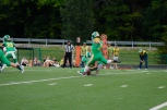 Junior Cole Hussung kicks the field goal in the first quarter to gain three points for FC. Photo by Grace Allen.