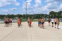 "The cross country team does warm-ups they call ""slow drills"" before they get into their main workout on Aug. 2. Photo by Grace Allen."