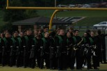 The Floyd Central marching band eagerly waits to begin their halftime performance. Photo by Sophia Perigo.
