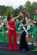 "Former Homecoming Queen Delaney Mazza crowns the 2018 Homecoming Queen senior Riley Woodruff. ""It was a lot of fun to crown Riley and really exciting. I was so happy that they asked me to come back!"" said Mazza. Photo by Grace Allen."