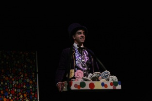 "Senior Noah Hankins opens the show with the song ""Pure Imagination."" Willy Wonka was performed at FC this past weekend and the cast is toured nearby elementary schools to perform for the students early this week. Photo by Sophia Perigo."
