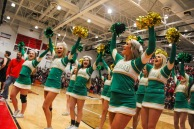 The FC cheer team leads chants to get the crowd rowdy. Photo by Grace Allen.