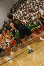 Senior Cobie Barnes faces off against his opponent while playing offense. Photo by Grace Allen.
