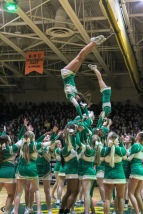 The Floyd Central cheerleading team performs one of their many routines during the pep rally. Photo by Grace Allen.