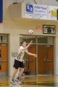 "Junior Harrison Sprigler keeps his eyes on the ball while getting ready to serve it across the net. ""I like volleyball because it's super fun and not stressful like other sports are,"" said Sprigler. Photo by Grace Allen."