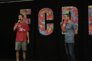 Seniors Nick Landrum and Ethan Jekel sing the National Anthem to start off Dance Marathon. Photo by Sophia Perigo