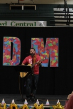 English teacher Matthew Townsend competes in the FCDM staff talent show. Photo by Sophia Perigo
