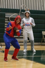Seniors Cole Hussung and Daniel Cristiani pose in their Halloween costumes during practice on Thursday night. Photo by Brock Kennedy