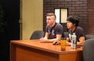 Juniors Colin Wood and Garrett Gravitt practice reading their lines for the FCTV live show. Photo by Mary Ficker.