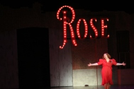 """Junior Grace Platt finishes the final notes of """"Rose's Turn."""" Photo by Presley Vanover."""