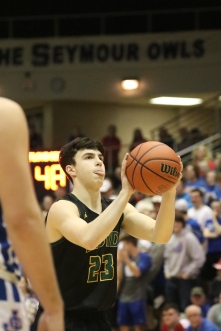 Sophomore Brady Moore shoots a free throw Saturday in the sectional championship. Photo by Brock Kennedy.