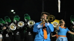 """Junior Preston Fonseca plays his solo during the marching band show entitled """"Synchronicity."""" Photo by Brock Kennedy."""