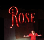 "Junior Grace Platt sings ""Rose's Turn"" during a tech rehearsal. Photo by Presley Vanover."