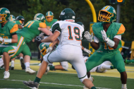 Senior Calvin Brown blocks the player at the Vincennes Lincoln game on Friday, September 6, 2019. Photo by Kate Zuverink.