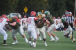 Junior Zen Michalski blocks the defensive line to stop the Red Devils at the Jeffersonville vs. Floyd Central game on September 20, 2019. Photo by Kate Zuverink.